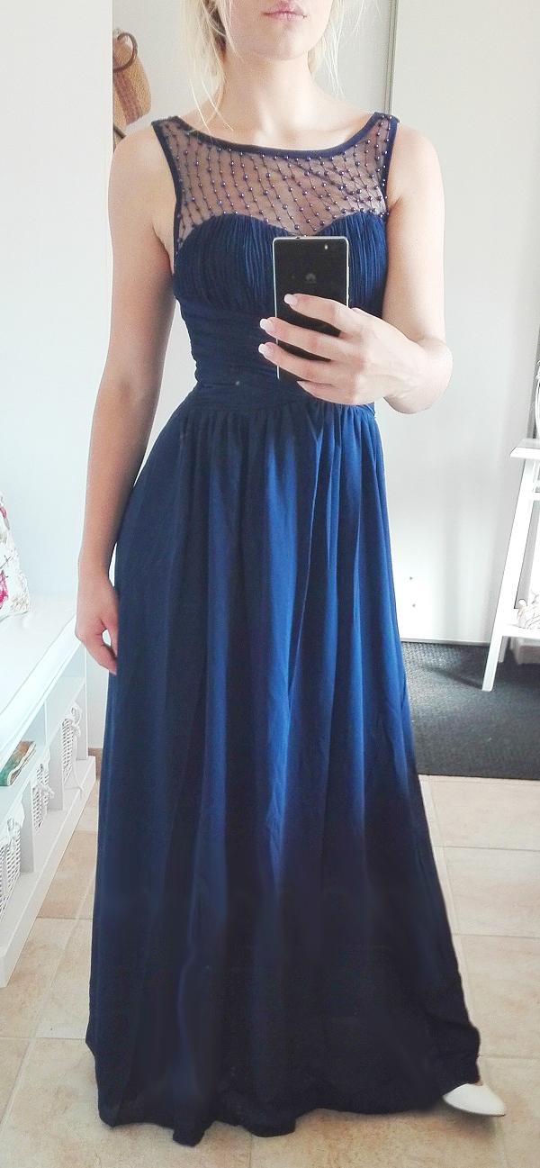 Plesové šaty dlouhé modré perličky a75ed85449c