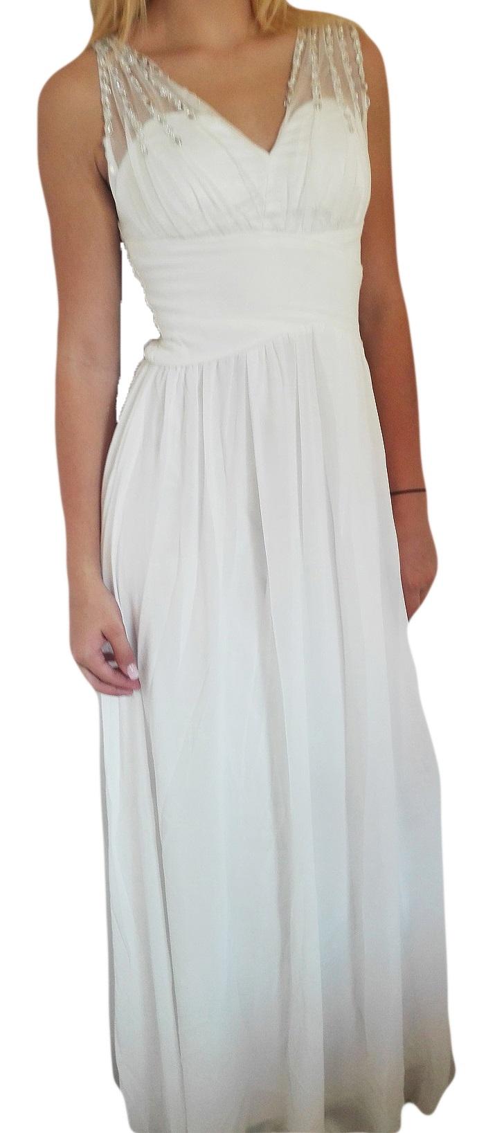 Plesové šaty dlouhé bílé s třpytivými kameny