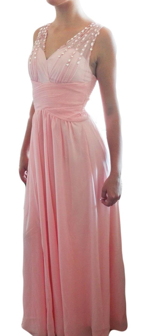 fb8494f9b827 Plesové šaty dlouhé lososové s třpytivými kameny