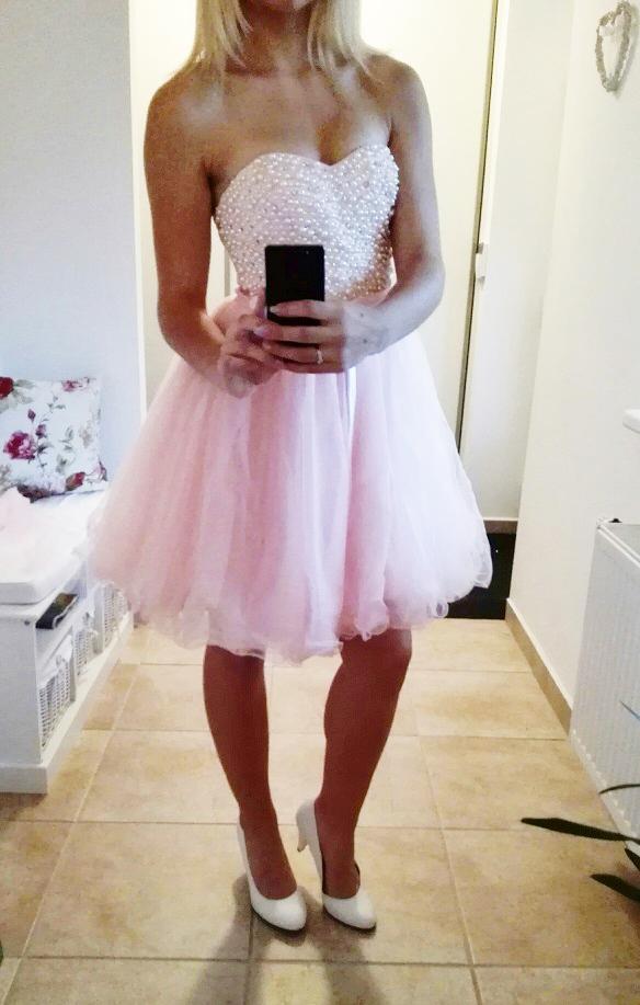 ebebf898041 Plesové šaty - koktejlky korzetové s perlami - růžové