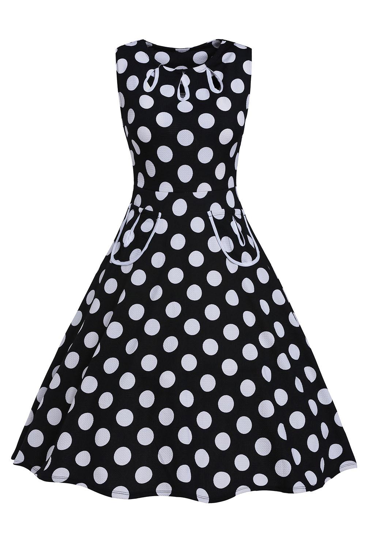 002 Společenské RETRO šaty černé s puntíky  c09c3b0fa17