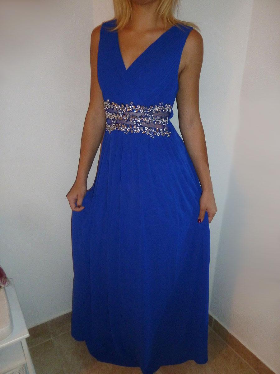 Plesové šaty dlouhé s ozdobnými kameny tm.modré