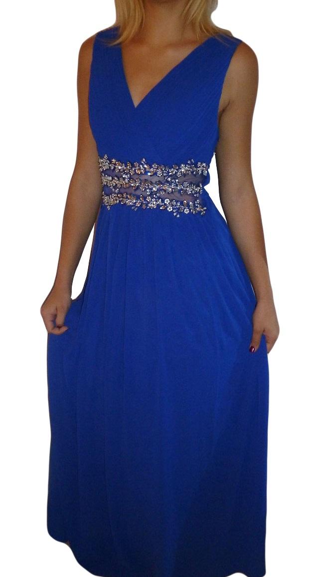 Plesové šaty dlouhé s ozdobnými kameny tm.modré 466db9cc3e9