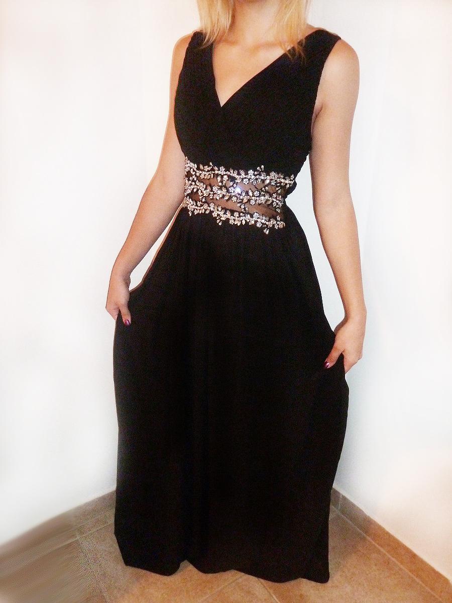 Plesové šaty dlouhé s ozdobnými kameny černé