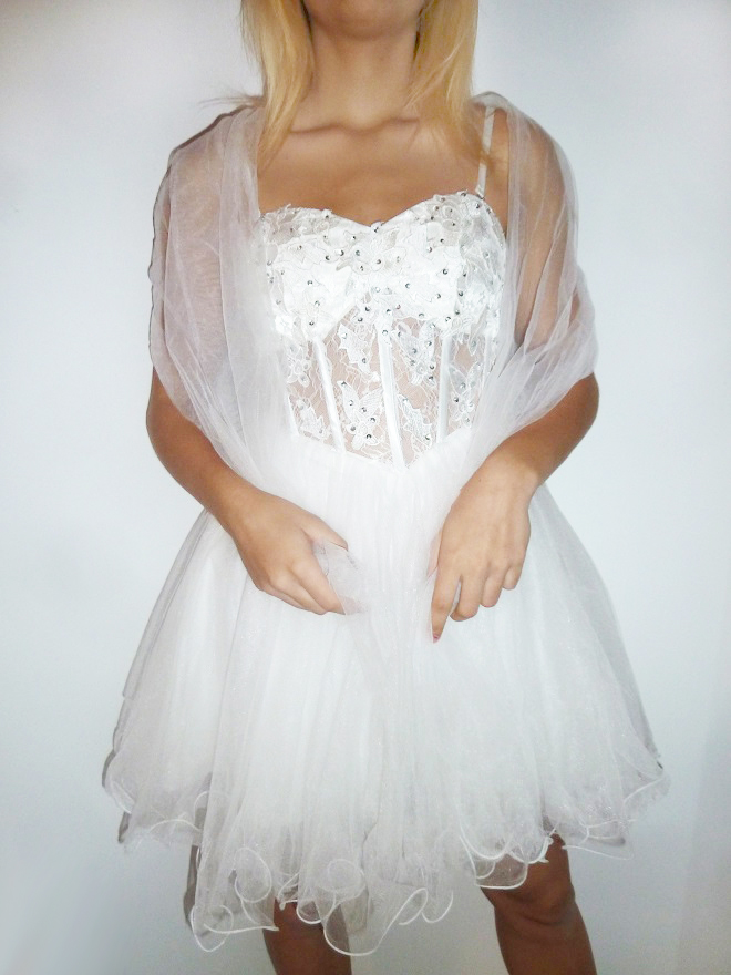 Plesové šaty - koktejlky krajkové s korzetem - bílé