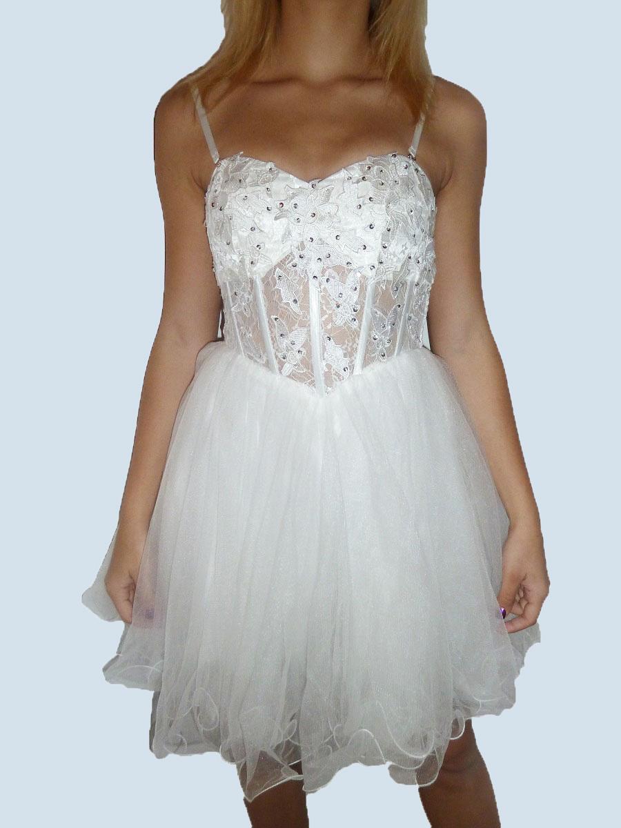 2c4958d99e2 Plesové šaty - koktejlky krajkové s korzetem - bílé