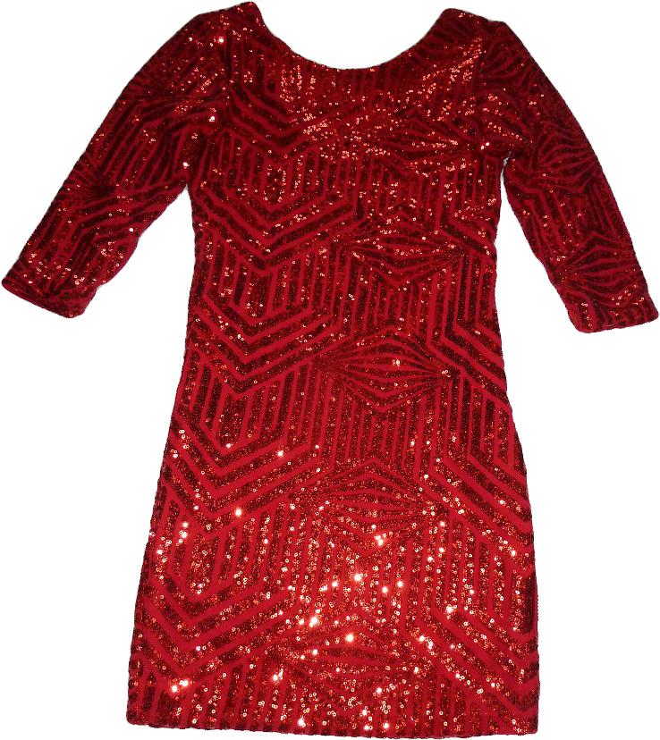 Třpytivé párty šaty s flitrami - červené