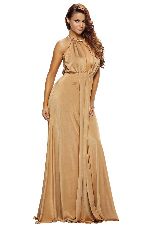 001 Společenské dlouhé zlaté šaty s hlubokým výstřihem