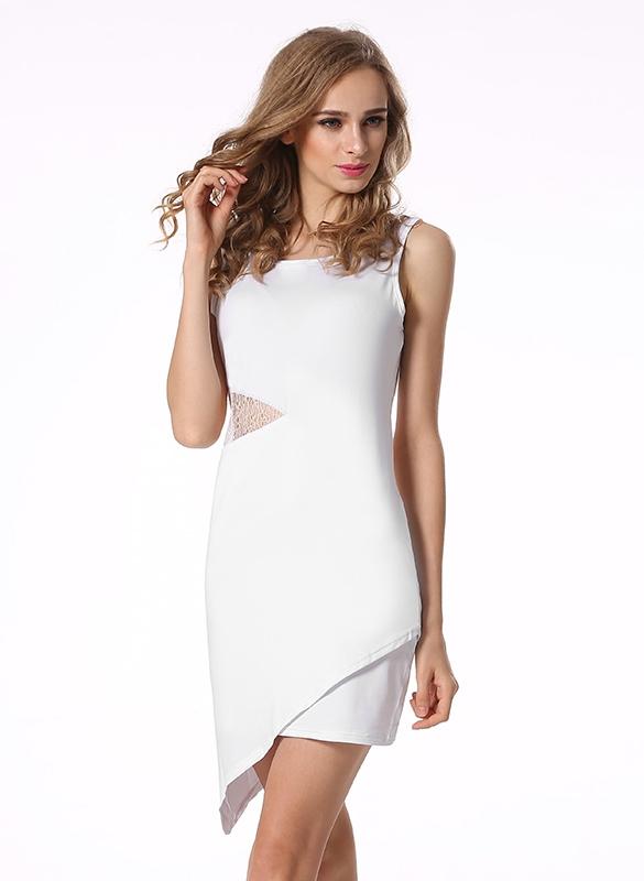 Dámské sexy společenské šaty s krajkou bílé