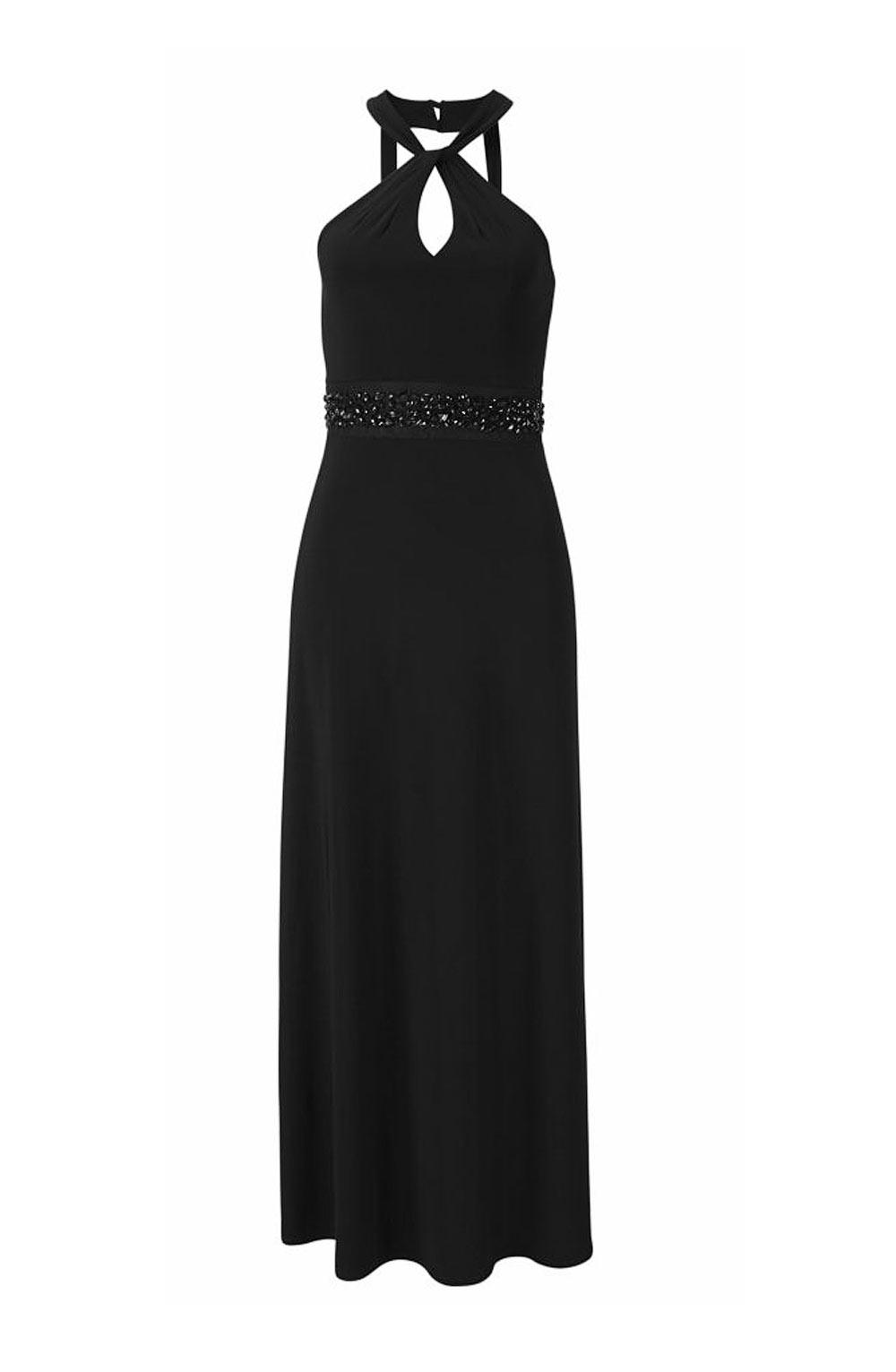 Dámské společenské maxi šaty s kameny černé (Melrose)