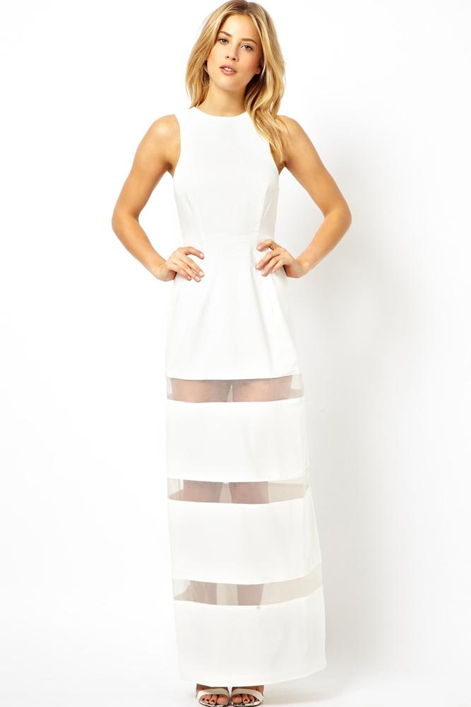 001 Dámské šaty dlouhé bílé průsvitné pásy