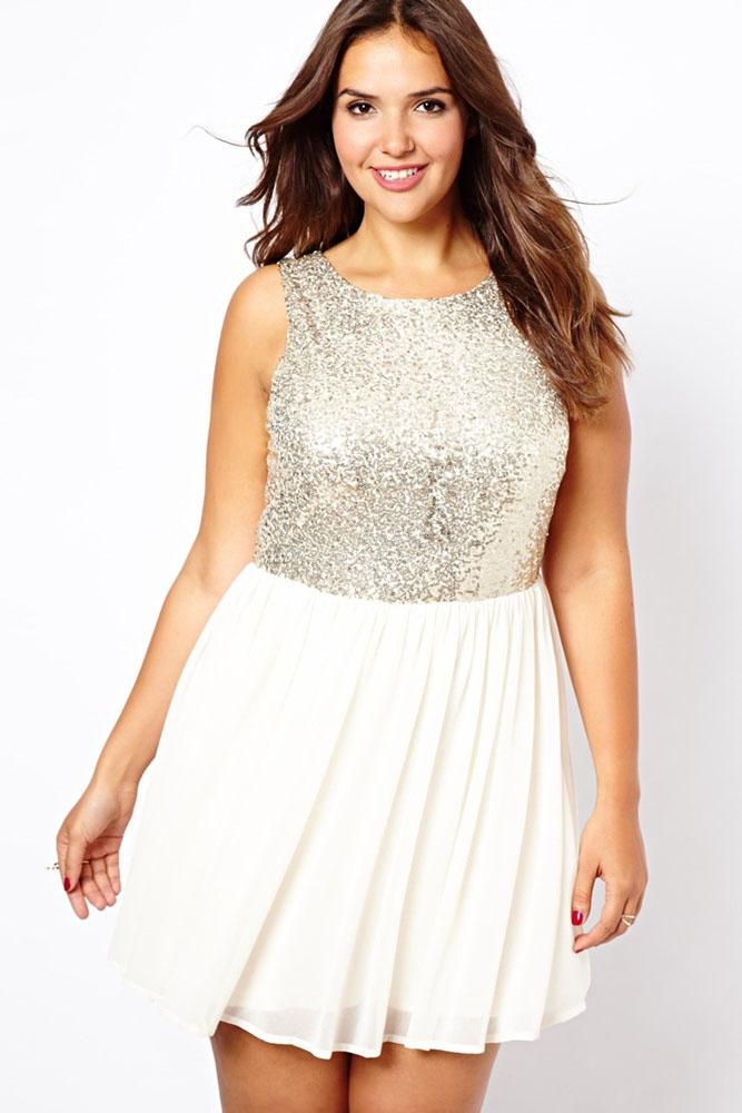 001 Společenské šaty bílé s flitry