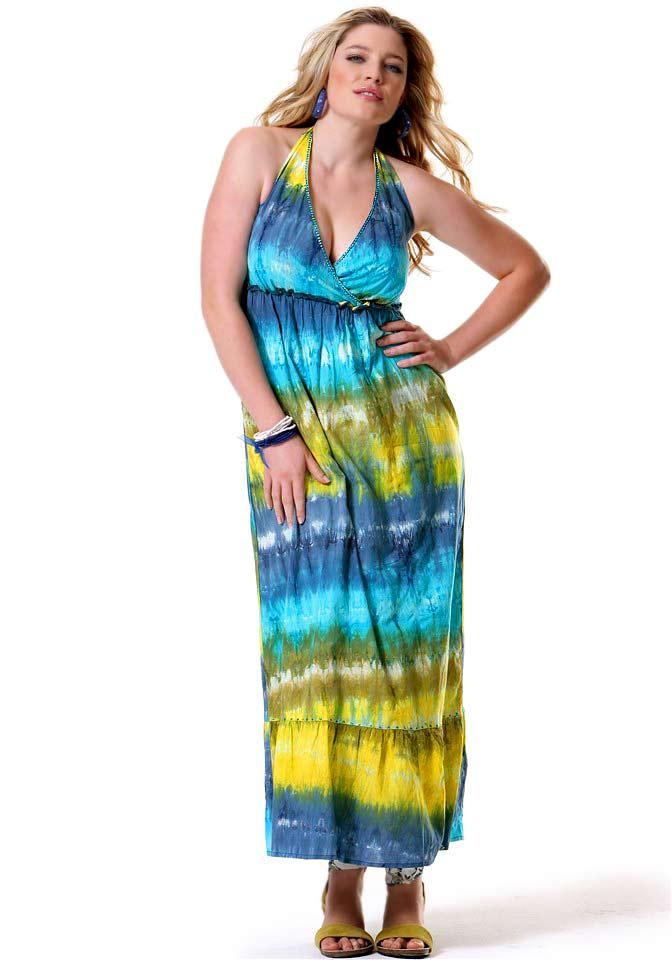 Letní bavlněné šaty dlouhé batikované  0680cdfdae