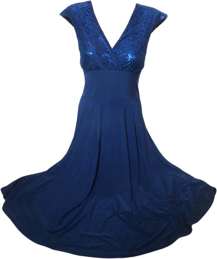 00 Večerní dlouhé šaty i pro plnoštíhlé modré