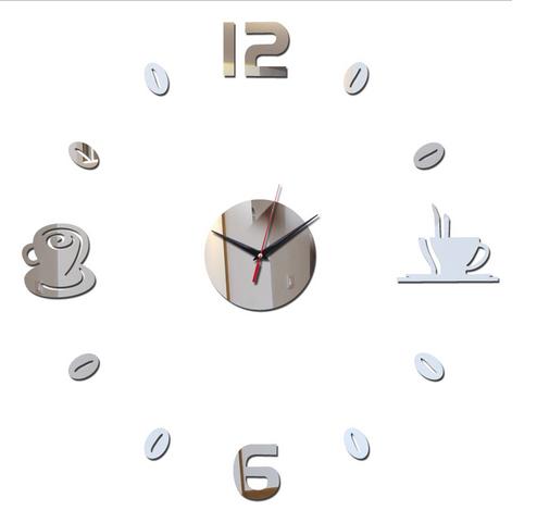 Nástěnné hodiny nalepovací stříbrné - káva