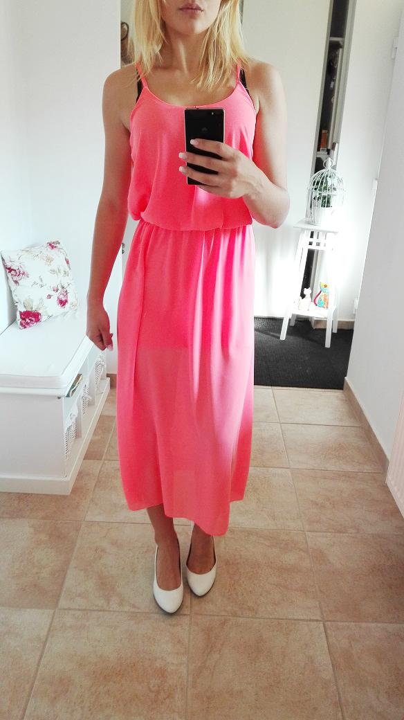 Dámské letní šaty na ramínka neon růžové 397910f001