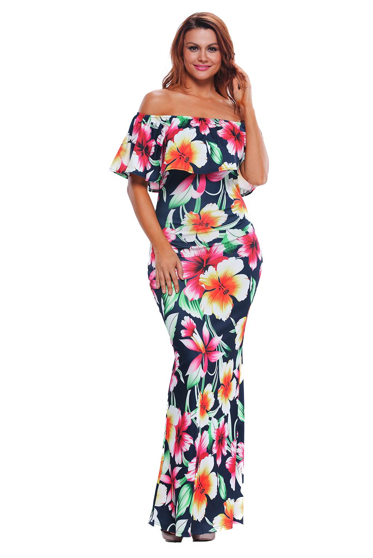 Dámské dlouhé květované šaty BOHO modré 47ae796eb4