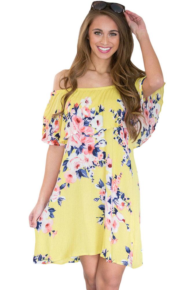 Dámské šaty letní květované žluté  c83dedbf5d