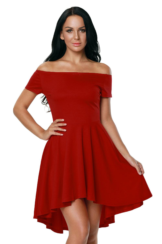 001 Společenské šaty červené s kolovou sukní 6c2b83d6fc7