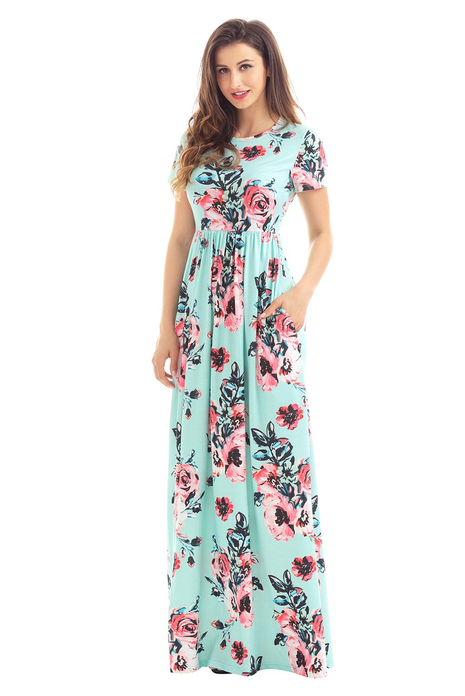 02 Letní maxi šaty květované mint  32996c2911a