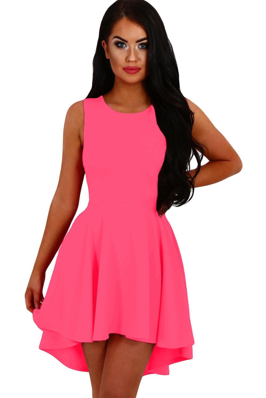 365a51da1dc 001 Dámské šaty s asymetrickou kolovou sukní neonové