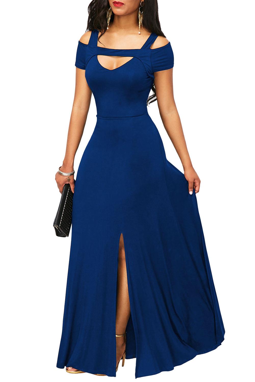 02 Společenské šaty dlouhé s výstřihem a rozparkem modré  55a6a72157