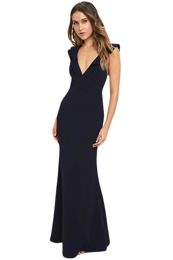 2905a597868b 02 Společenské šaty dlouhé černé SLIM střih