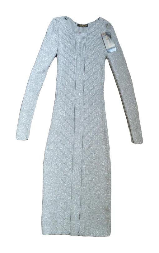 c299fe0d796a 00  Společenské úpletové šaty šedostříbrné