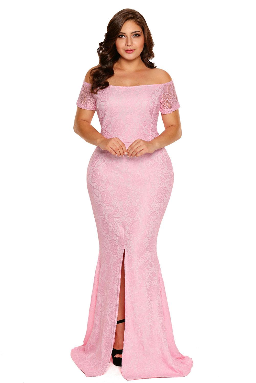 Dámské společenské šaty + velikost krajkové růžové  c0ba2b61b4