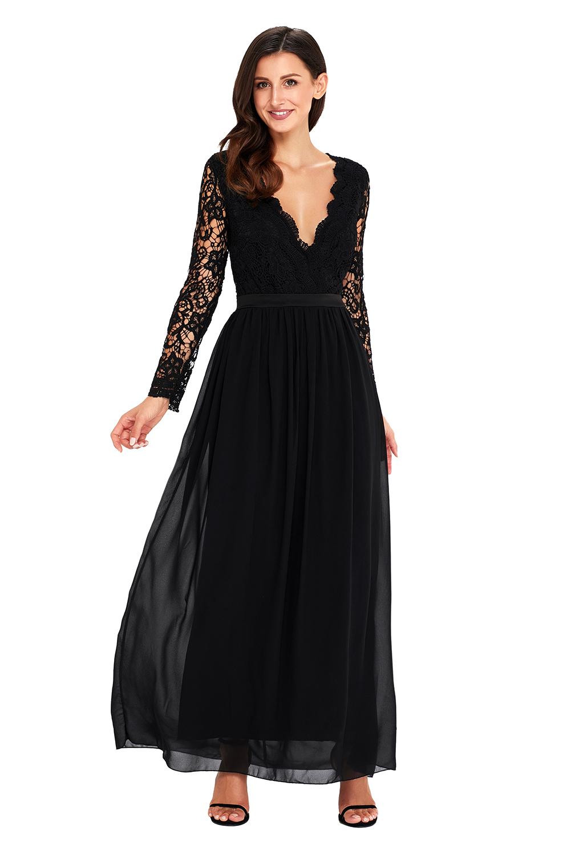 dc3f4fc6f72a Společenské šaty dlouhé černé s krajkou a odhalenými zády