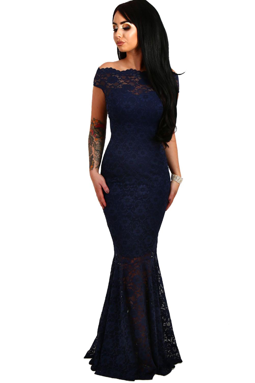 5839032c108b 001 Společenské šaty krajkové tmavě modré dlouhé