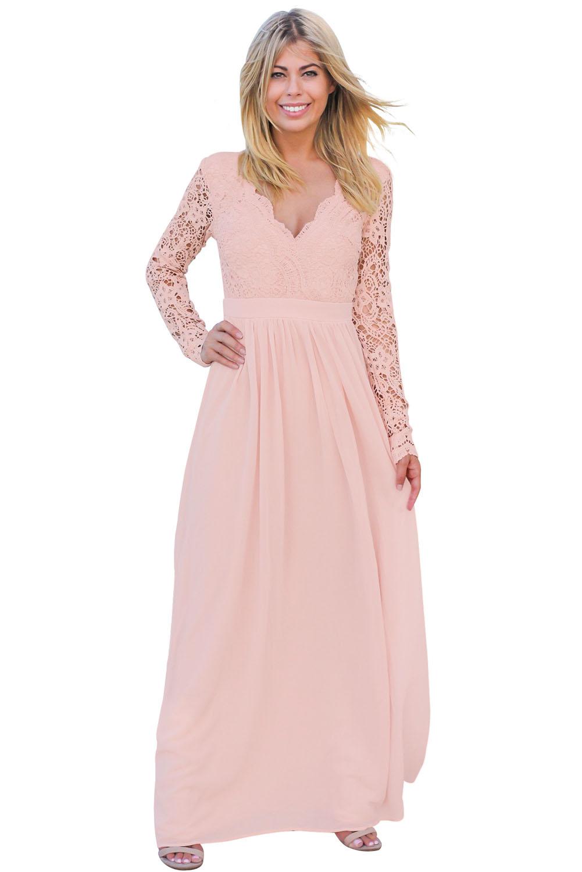 02 Společenské šaty dlouhé s krajkovým živůtkem růžové 2a0fc590b3