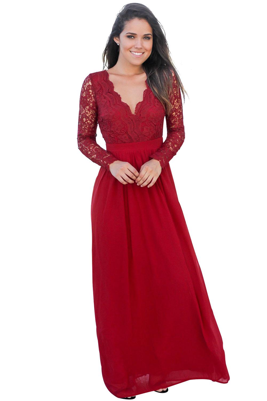 02 Společenské šaty dlouhé s krajkovým živůtkem červené c405fdd7b7