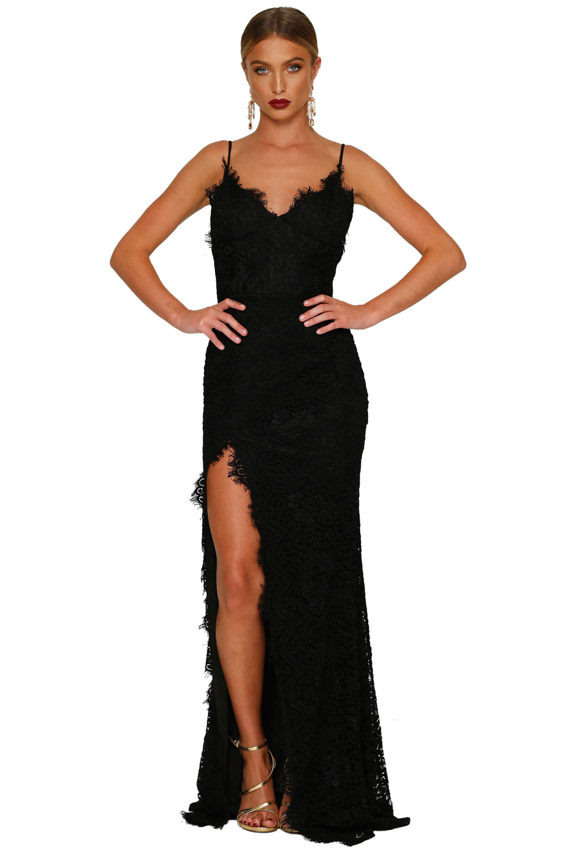 Společenské šaty na ramínka dlouhé černé krajkové  7de3daa4f3