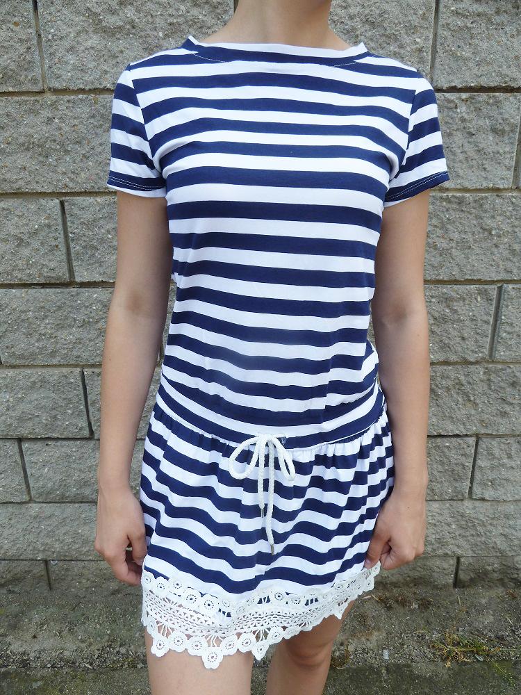 97295180daa1 Letní námořnické šaty s krajkou
