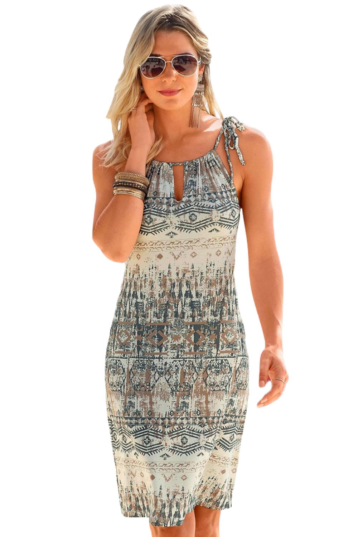 Dámské šaty letní etno šedé  43324d5ce2