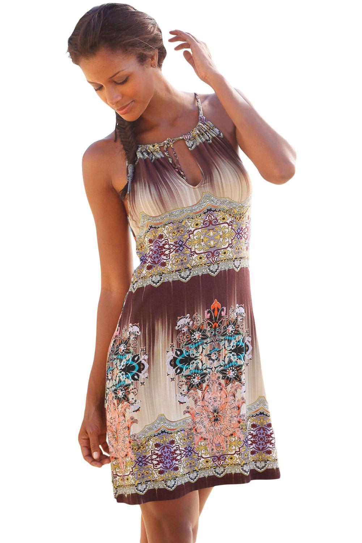 Dámské šaty letní etno béžovohnědé  fab0e4142b