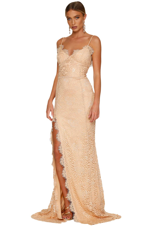 Společenské šaty na ramínka dlouhé béžové krajkové  f7a6864903