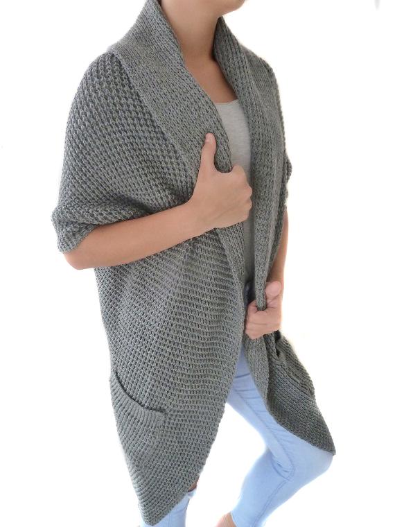 Dámský dlouhý svetr - cardigan šedý  a6eb16a75b