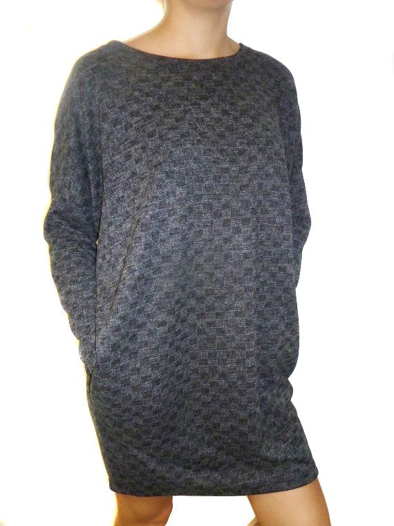 Dámská delší volná tunika s kapsami šedá 7ee8be8460