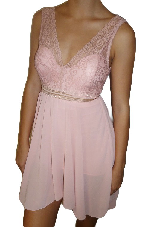 516b601b3b82 Společenské šaty s krajkovým živůtkem růžové