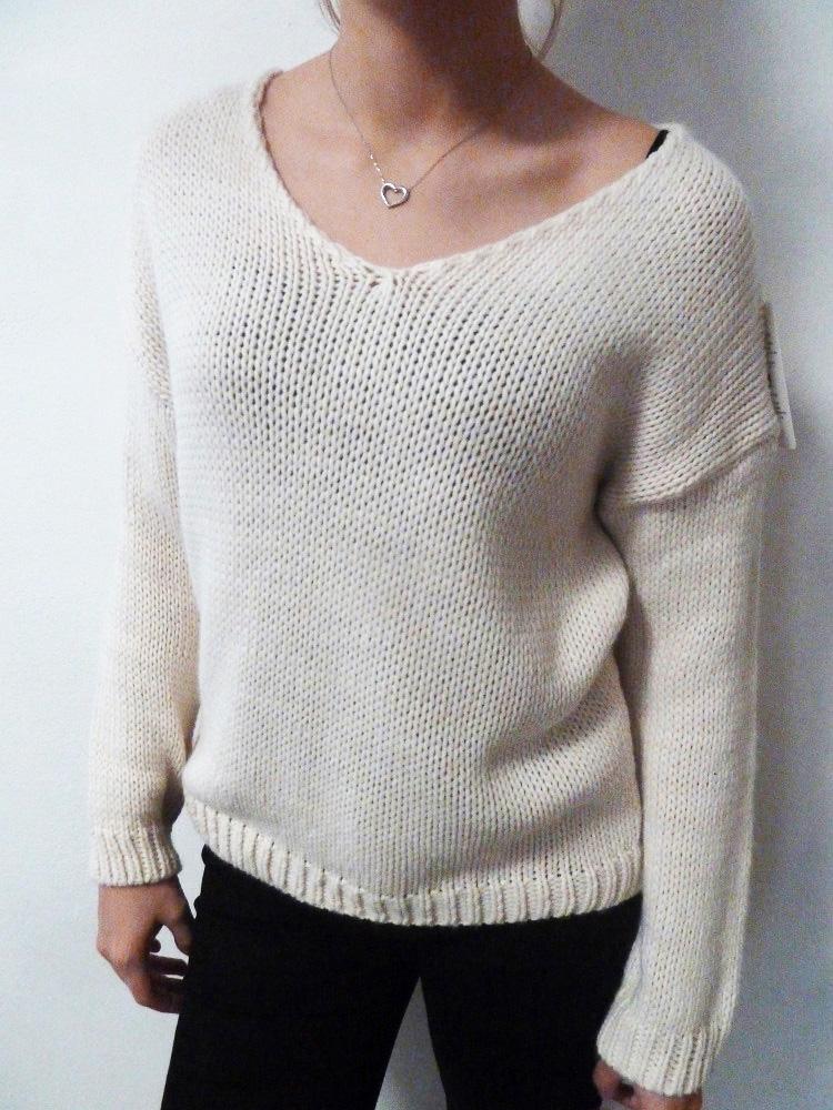 Dámský svetr - pulovr krémový  670b8800c7