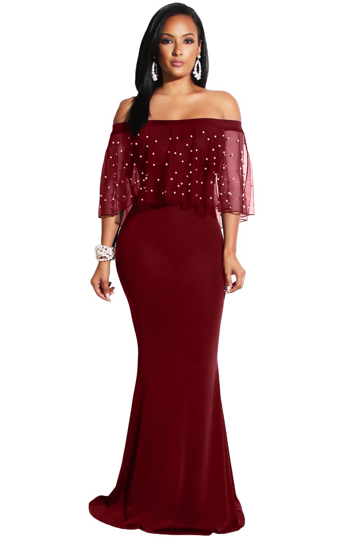 f54cae2714c Společenské šaty s volánem s perličkami vínové