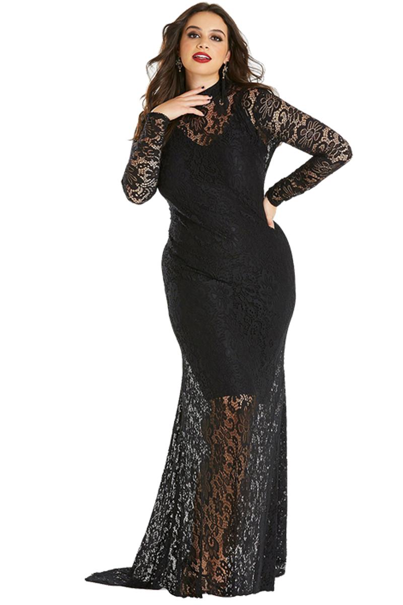 1c80e0e05b32 Společenské šaty pro plnoštíhlé krajkové černé