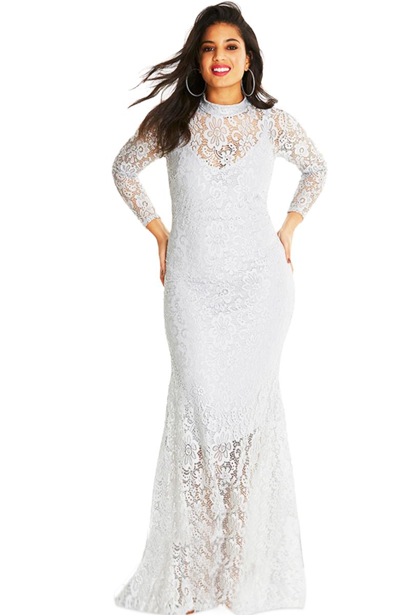 2313447848e Společenské šaty pro plnoštíhlé krajkové bílé