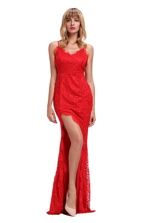37d80523b30f Společenské šaty na ramínka dlouhé červené krajkové