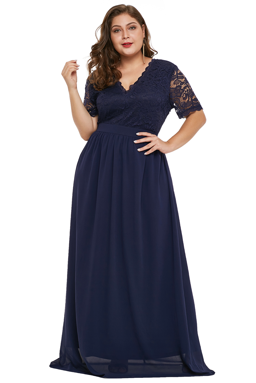 18c92decace0 Společenské šaty pro plnoštíhlé dlouhé modré s krajkou