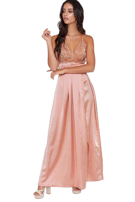 cf47412ef Plesové šaty saténové růžové s flitrovým dekoltem | Katyshop