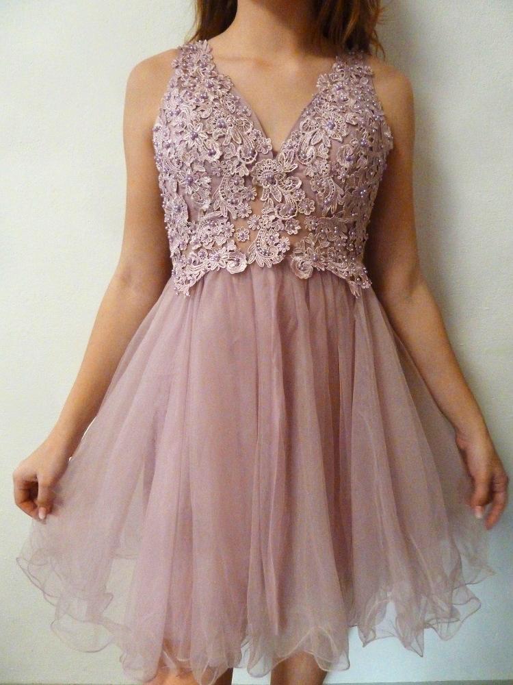 22919614e90b Plesové šaty - koktejlky s krajkou růžové