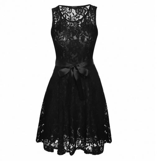 002 Dámské VINTAGE šaty černé celokrajkové (Velikost : L)